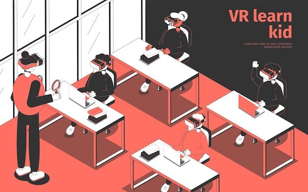 Studenti e insegnanti che indossano occhiali per realtà virtuale che studiano in aula isometrica