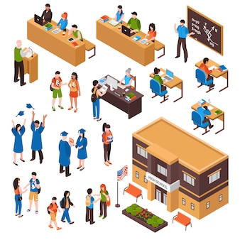 Students and teachers isometric set