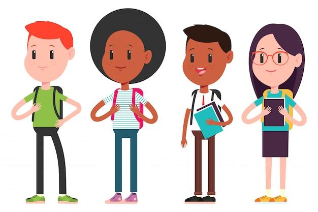 Студенты подростков героев мультфильмов набор изолированных на белом фоне.