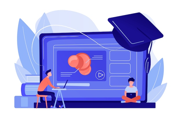 Студенты, использующие платформу электронного обучения, видео на ноутбуке и выпускной бейсболке