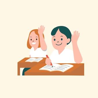 Vettore di studenti che studiano nella grafica piatta del personaggio di classe