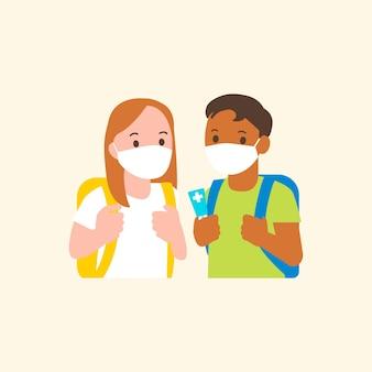 Vettore di studenti con maschera nella nuova grafica piatta del carattere normale