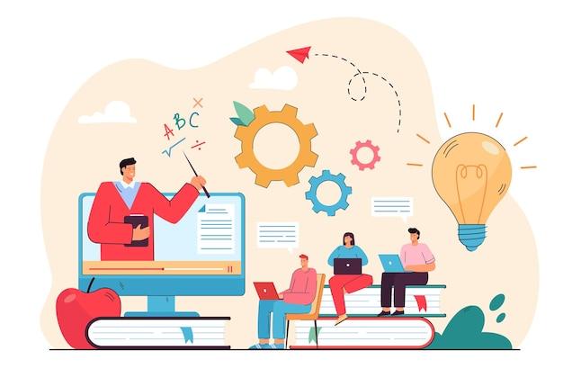 컴퓨터에서 웹 세미나를보고 온라인으로 공부하는 학생