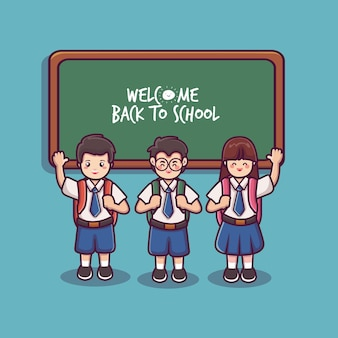 Students wearing a bag and waving a cute student vector