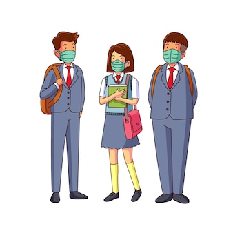 Students wearing face masks