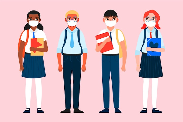 医療用マスクを身に着けている学生