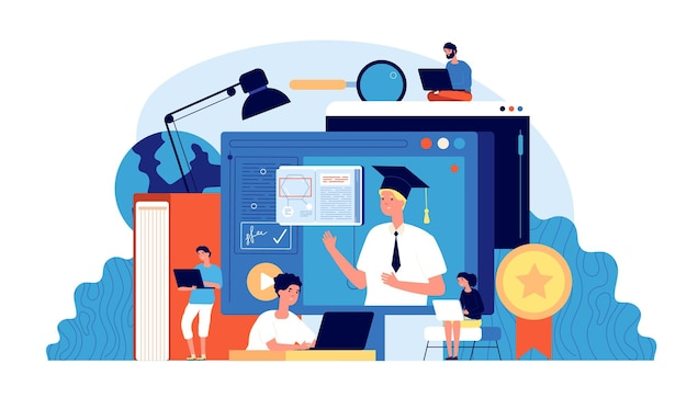 学生のウェビナー。コンピュータスクール、デジタルセミナー。人々はオンライン教育をグループ化します
