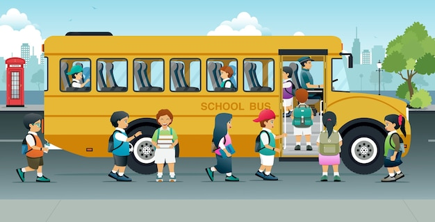 The students were happy to sit on the school bus parked on the roadside