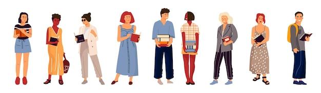 本を持っている学生。スタックを保持し、本を読んで大学の10代の漫画のキャラクター。モダンな服のフラットイラストで多様な多文化の学生をベクトル