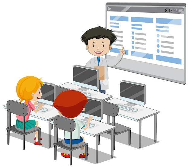 Students with computer classroom elements on white background