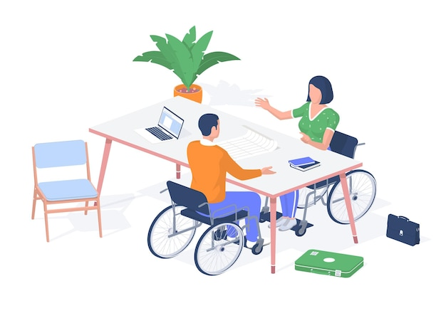 Students with disabilities discussing exam. guy with woman in wheelchairs debating education. laptop on table and books with drawings. online help for handicapped people. vector realistic isometry