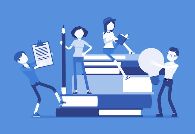 Студенты с гигантскими книгами. ученики школы или колледжа учатся, счастливы в получении знаний, академической подготовке, держат лампочку, карандаш. наука, концепция образования. иллюстрация, безликие персонажи