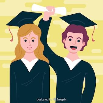 卒業帽子を持った学生