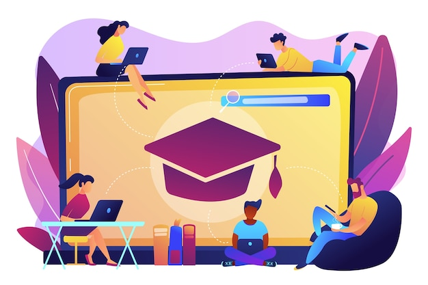 Students with laptops studying and huge laptop with graduation cap. free online courses, online certificate courses, online business school concept.
