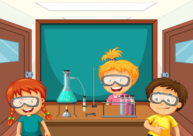ラボで科学ツールを使用する学生