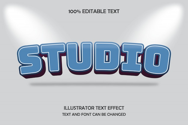 Studio, editable text effect arc drop shadow style