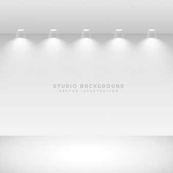 Studio gallery interior with spotlights