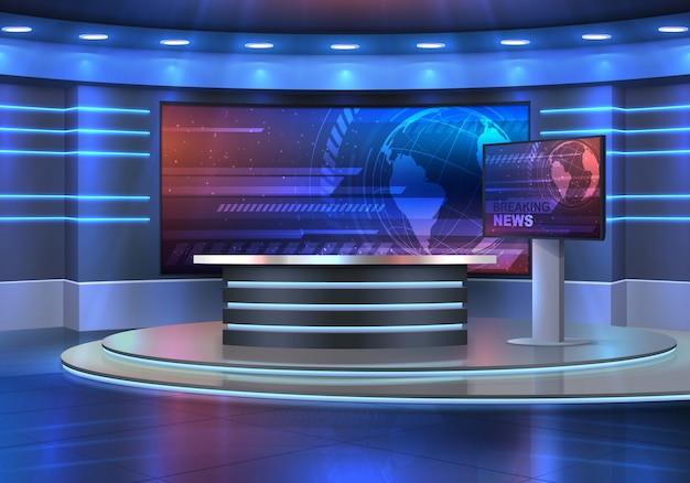 Studio interior for news broadcasting,  empty placement with anchorman table on pedestal, digital screens for video presentation and neon glowing illumination. realistic  breaking news studio