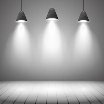 白い壁とスポット照明のあるスタジオインテリア。プロジェクター、リアルなクリア、ハイライトとフロア、ベクトルイラスト
