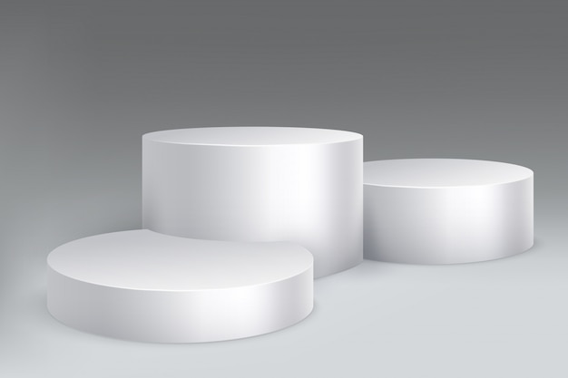 Studio podium. marble stand pillar base, pedestal with cylinders.