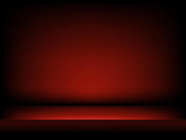 抽象的なスタイルのスタジオ赤の背景。柔らかい影と濃い赤の抽象的なグラデーションの背景。製品デモンストレーションのステージ。暗い部屋のインテリア。