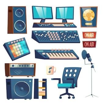 Studio sound recording equipment set