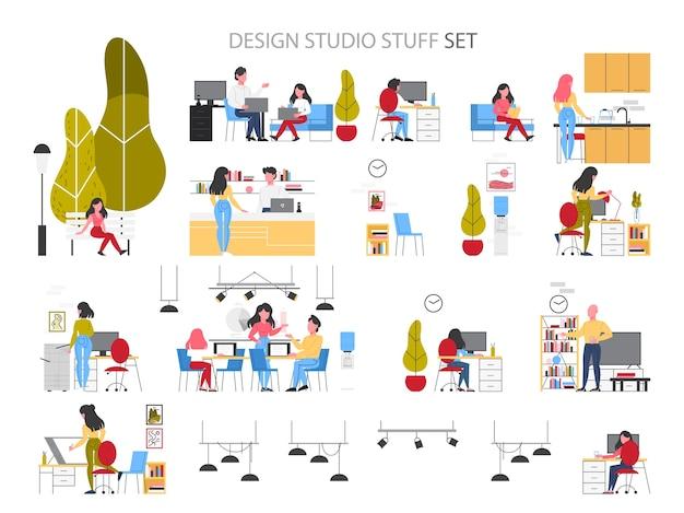 Сотрудники студии. оборудование офисных рабочих мест для интерьера, индустриальный, графический дизайнер. деловая область и творческие элементы. иллюстрация