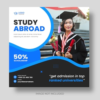 Study abroad modern social media post banner template