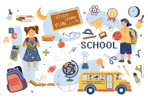 Набор изолированных элементов концепции обучения в школе