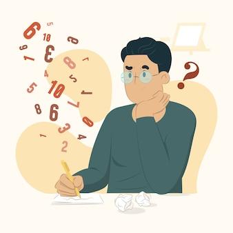 Концепция исследования человек делает иллюстрации расчетов