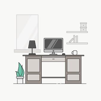 Study desk line illustration