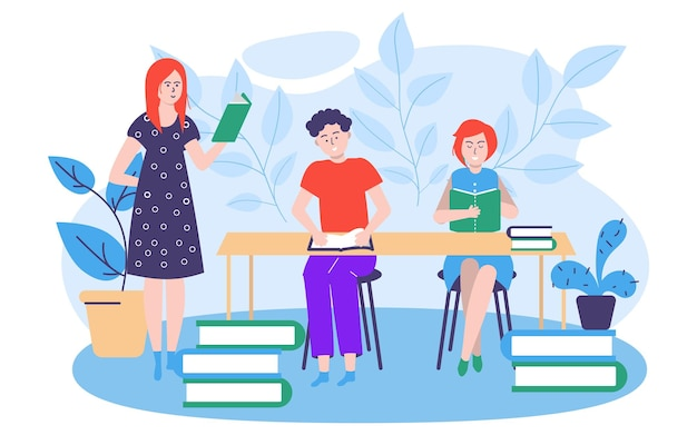 Study education concept vector illustration people man woman character get knowledge at school class...