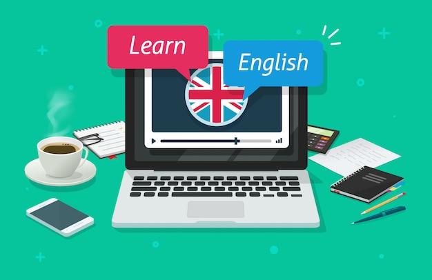 ラップトップコンピューターでオンラインで英語を勉強したり、デスクテーブルフラット漫画イラストをpcで外国語のレッスンのインターネット教育をしたりする