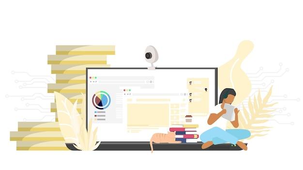最小限のデザインで自宅から勉強します。在宅勤務、オンラインビデオ会議