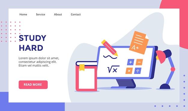 Изучите твердый карандаш на мониторе компьютерная формула плюс минус кампания для шаблона целевой страницы домашней страницы веб-сайта с современными