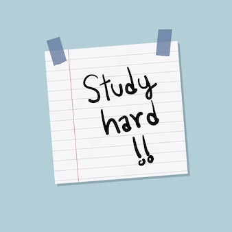 Study hard sticky note illustration