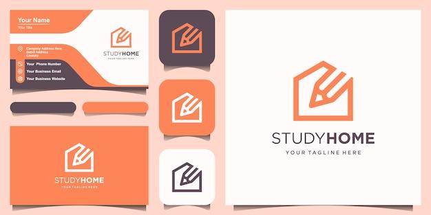 Шаблон дизайна логотипа дома исследования. карандаш совмещенный с домиком.