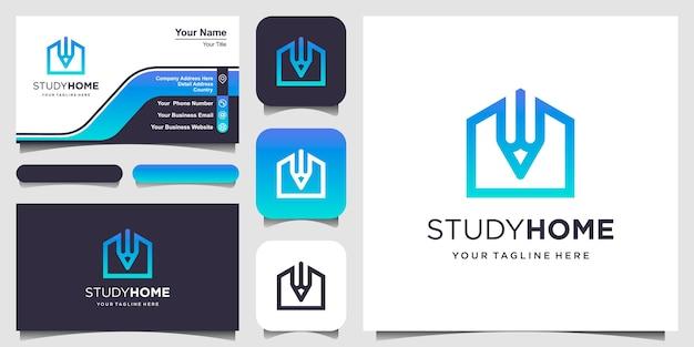 Шаблон дизайна логотипа дома исследования. карандаш совмещенный с домом.