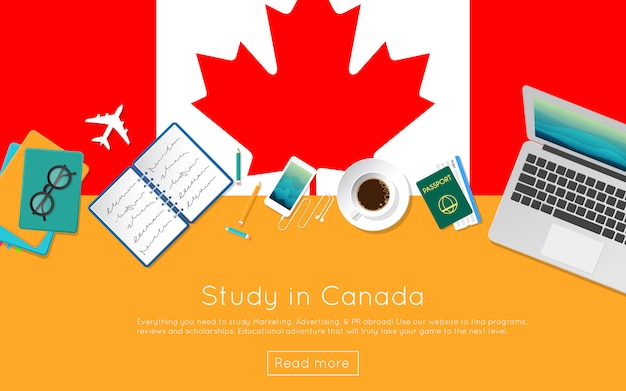 Webバナーまたは印刷物のカナダの概念を勉強します。国旗のノートパソコン、書籍、コーヒーカップの平面図です。フラットスタイルの留学ウェブサイトのヘッダー。