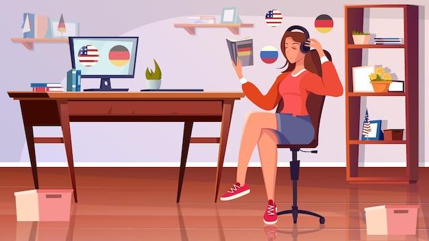 집 거실 인테리어와 헤드폰을 끼고 테이블에 앉아 있는 소녀와 함께 언어 평면 구성을 공부합니다.