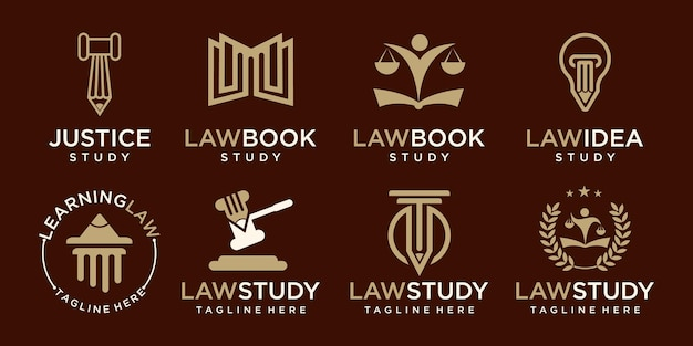 Study law firm logo set elegant law and attorney firm vector logo design