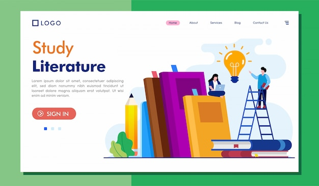 Study literature landing page website illustration