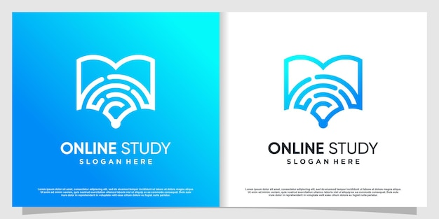 Study logo with book and signal concept premium vector part 1