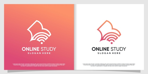 Study logo with book and signal concept premium vector part 2