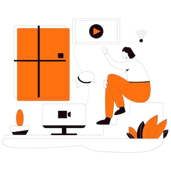 Study online flat style illustration kit