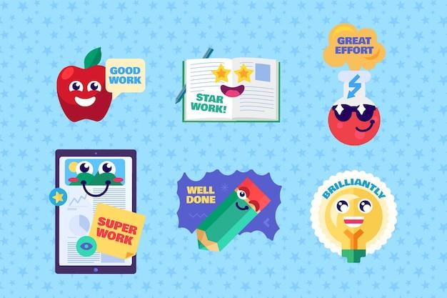 Study reward sticker in different form vector