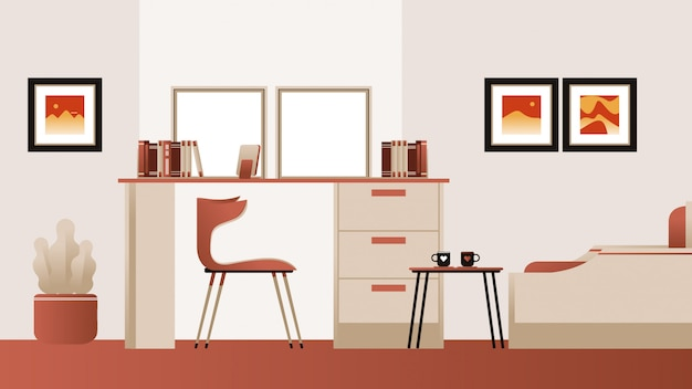 Study room background vector