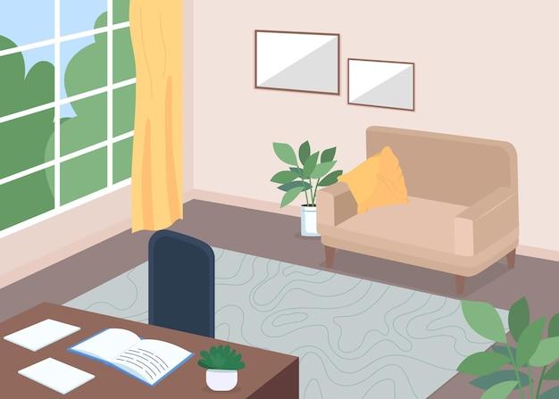 Плоская цветная иллюстрация кабинета