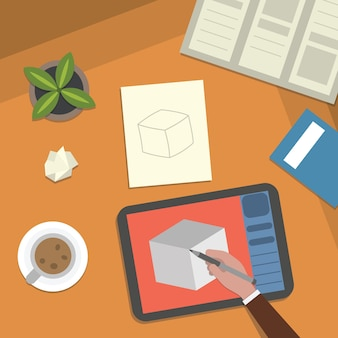 Study table and art work desktop  illustration. school lesson studying and digital illustration elements top view.