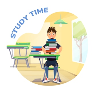 Study time poster with student and books stack